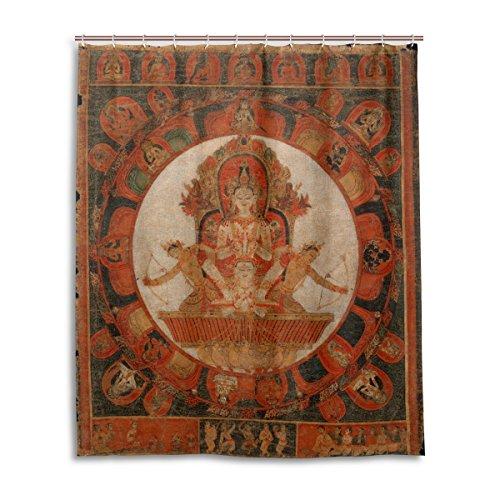 JSTEL Duschvorhang, 152,4 x 183,9 cm, Kunst, ethnisch, Buddhismus, Mandala, Thangka, schimmelresistenter Polyester-Stoff, Badezimmer-Vorhang