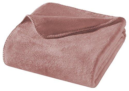 WOHNWOHL Kuscheldecke 150x200cm • weiche Tagesdecke • Sofadecke • Wohndecke • Schlafdecke • Ökotex Zertifizierte Baumwolldecke • Farbe: Altrosa
