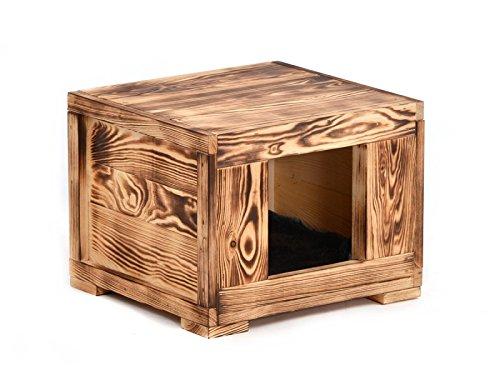 Wohnhöhle 'Woody' für Ihr Haustier (Katzen, kleine Hunde) aus Holz in geflammter Optik
