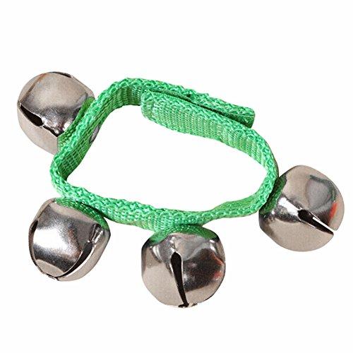 display0 8 Baby Kids Nylon muñeca pie campanas sonajeros anillo juguete pulsera regalo verde