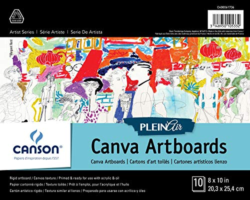 Canson Plein Air Canva Rigid Art Paints or Sticks, Oil and Acrylic, 8 x 10 Inch, Set of 10 Boards, 8' x 10', 0