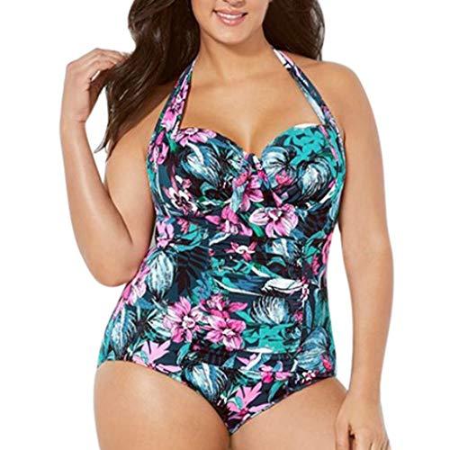 Maillots de Bain Bikini,Honestyi Femme Imprimé Floral Swimwear Grande Taille Casual Beachwear Mode Halter Bandage Maillots Une Pièce Style Sport Bikini