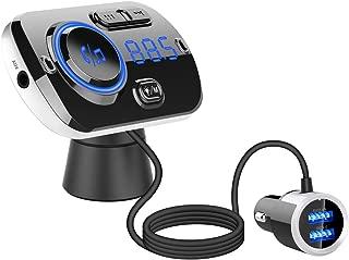 【最新型】FMトランスミッター シガーソケット USB 車載充電器 Bluetooth 5.0+EDR 2 USBポート(5V/2.4A&3A) QC3.0急速充電 Mp3プレーヤー CVCノイズ軽減 マイク内蔵 ハンズフリー通話 TFカード/Aux-in対応 Google assistant&Siri対応 波数仕様 87.5~108.0Mhz