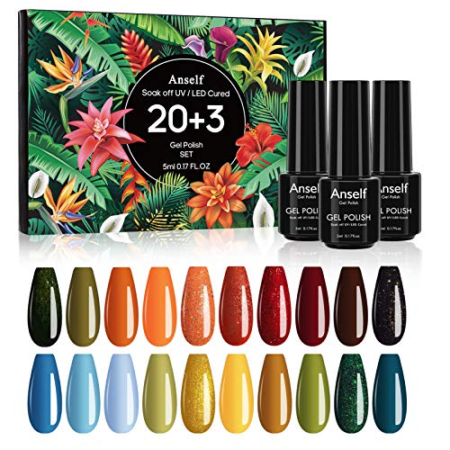 Vernis Semi Permanent, Anself 20 Couleur Vernis à Ongles Gels Semi-Permanents Soak Off Lot, avec Top et Base Coat, Matte Top Coat, Vernis Nail Art UV Nail Gel Polish Set pour Manucure