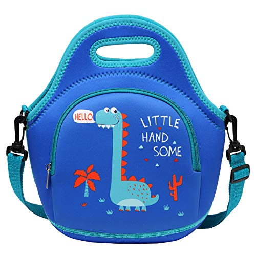 Lunch Bag for Boys, Chasechic Cute Lightweight Neoprene Insulated Lunch Boxes Tote with Detachable Adjustable Shoulder Strap Dinosaur
