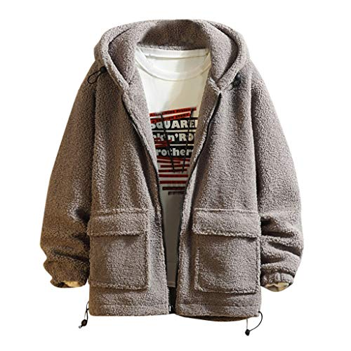 MAYOGO Herren Jacke Fleecejacke Kapuzen Wollen Fleece Winterjacke Teddy-Fleece Locker Sweatjacke Herrenjacke (Grau, XL/EU:38)