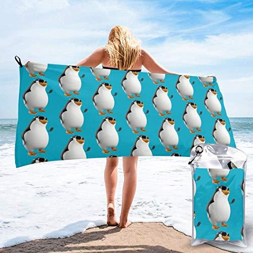 Duschtücher Schnelltrocknendes Handtuch für Travel Beach Bad Schwimmen Camping Pinguin mit Brille Schnelltrocknende Schwimmen Strandtücher 27.5