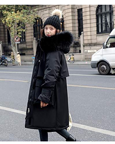 Chaqueta de Plumas Mujer,Parka para Mujer Invierno Negro Moda cordón Suelto Cuello de Piel Grande...