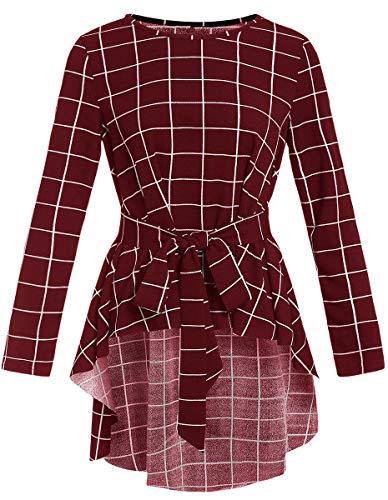 Romwe Damen-Bluse, mit Saum, langärmelig, mit Gürtel, Flare - - Klein