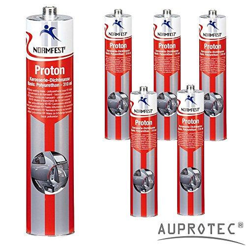 AUPROTEC® Normfest Karosseriedichtmasse Proton 310ml 1K Kleber überlackierbar grau, 6 Kartuschen
