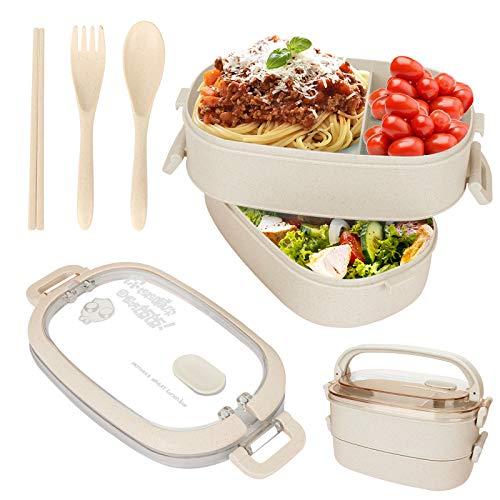 Sinwind Lunch Box, Bento Box Boite Bento, Boîte à Repas, Sécurité Anti-Fuite Écologique Hermétique Boîte à Repas pour Micro-Ondes et Lave-Vaisselle pour Le Pique-Nique, l'école, Le Travail (Beige)