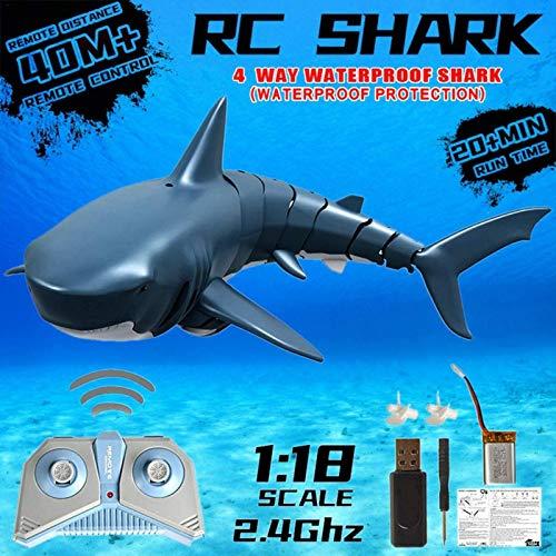 2020 Verbessertes ferngesteuertes RC-Haifischboot, 2.4G-Simulation Haifischboot-Spielzeug-U-Boot-Schiff für Schwimmbäder, bestes Geschenk für Kinder, 4-Kanal-RC-Boote