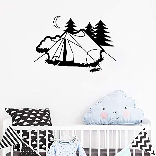 Tianpengyuanshuai Kinderzimmer Zelt Camping Wandaufkleber Vinyl Wandbilder Dekoration Natur Rest Urlaub abnehmbar 91X63cm