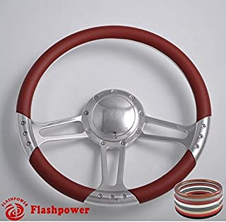 Flashpower 14'' Billet Half Wrap 9 Bolts Steering Wheel with 2'' Dish and Horn Button(Burgundy)