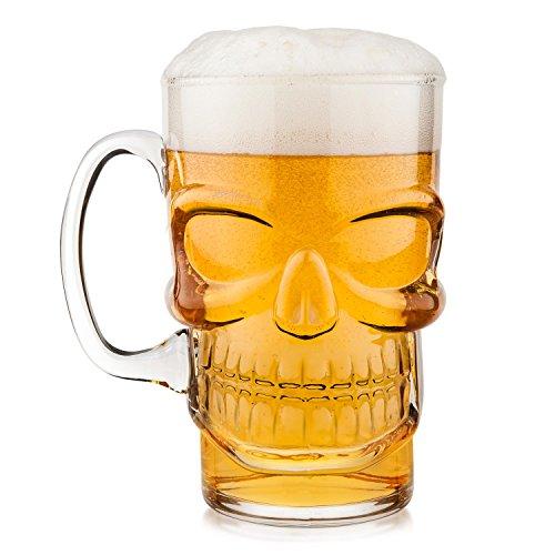 Vaso de cerveza con calavera y jarra de cerveza, diseño de calavera