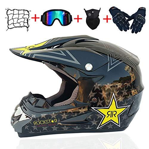YHDS Adulto Motocross Dirt Bike Casco de Bicicleta de montaña Motocicleta BMX MX ATV Off-Road Downhill MTB Casco Certificación Dot con Guantes,Gafas,máscara,Red de Casco (Rock Star),XL61~62CM