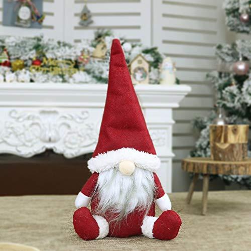 Weihnachten Puppe Mini Handgemachte Schwedische Wichtel Santa Dolls süße Weihnachtswichtel Kinder Geschenke Figur Plüschtier Stehende Weihnachtsfigur Urlaub Weihnachtsdekoration (Rot, 31 x 16cm)