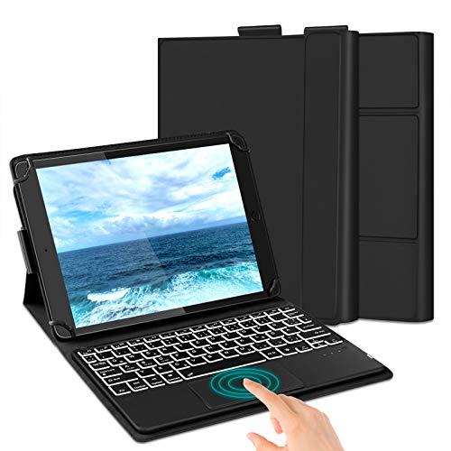 Jelly Comb Tastastur Hülle mit Touchpad für Allen 9-11 Zoll Tablets, Bluetooth Beleuchtete QWERTZ Funktastatur mit Schutzhülle für Surface, iPad, Fire Tab, Android Tabs, Schwarz
