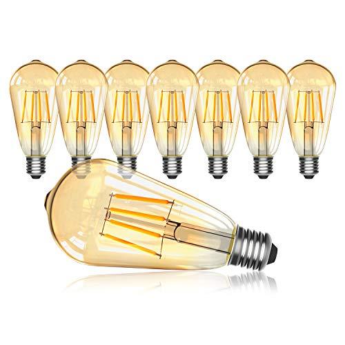 8 Pezzi LED Lampadina Vintage Edison, OxyLED ST64 E27 4W 400LM 2700K Non-Dimmerabile Vintage Lampadina Antico LED Filamento Lampadine per Casa, Ristorante, Bar, Caffe(8 Pezzi)