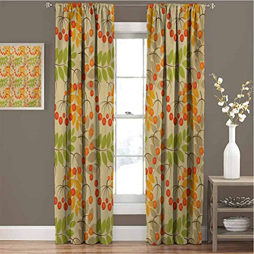 Rowan 99% Blackout Curtains Vivid Colorful Graphic Pattern of Rural Foliage Fruits in Autumn Season Warm Colors for Bedroom Kindergarten Living Room W54 x L84 Inch Multicolor