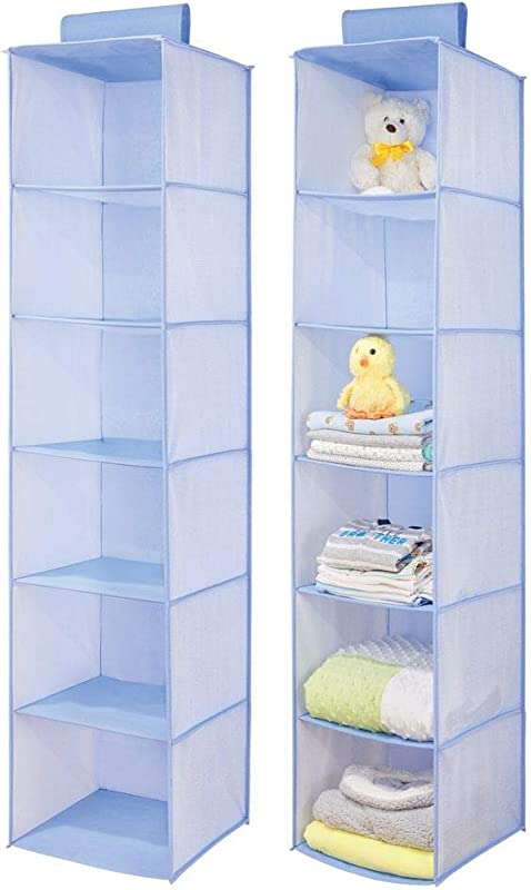 MDesign Long Soft Fabric Over Closet Rod Hanging Storage Organizer With 6 Shelves For Child Kids Room Or Nursery Herringbone Print 2 Pack Blue