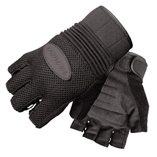 Olympia 757 Airforce Fingerless Gel Classic Motorcycle Gloves (Black, Large)