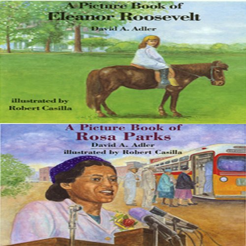 'A Book of Eleanor Roosevelt' and 'A Book of Rosa Parks' audiobook cover art
