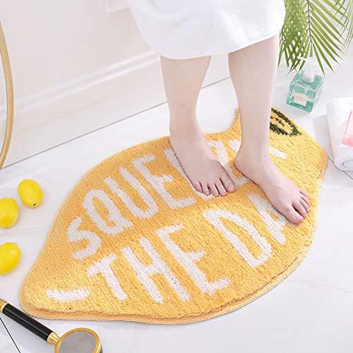 Flocking Fruit Peach Shape Rug Home Entrance Mat Bedroom Bathroom Door Non-Slip Carpet Absorbent Foot Mat - Lemon, 18.1'x29.9'