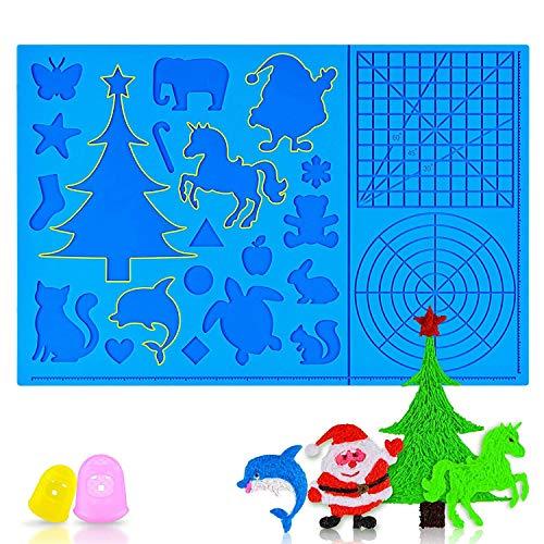 Jiamus 3D Stifte Matte, 3D-Druckstift Matte Silikon mit Mustern, für Anfänger, Kinder und 3D-Stiftkünstler,faltbares Design 3D-Stifte Zeichenwerkzeuge mit 2 Fingerschutz (16,2 x 10,9 Zoll)