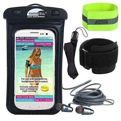 Waterproof Phone Case with Armband for Running and Swimming. with or Without Headphone Jack. SwimCell Fits All Phones 6.8 x 4 inches - iPhone 6, 7, Plus Samsung. (Black, HPJ)