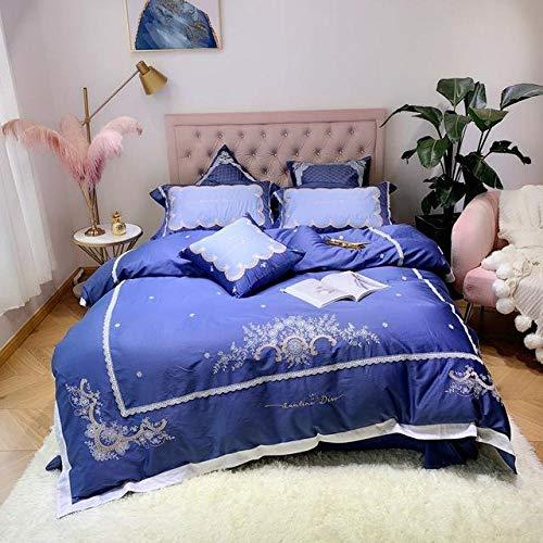 TYDH 42 4/7pcs Egyptian Cotton Luxury Bedding set King Queen Size Embroidery Bed set blue Duvet Cover Bedsheet set parrure de lit blue Queen size 7pcs