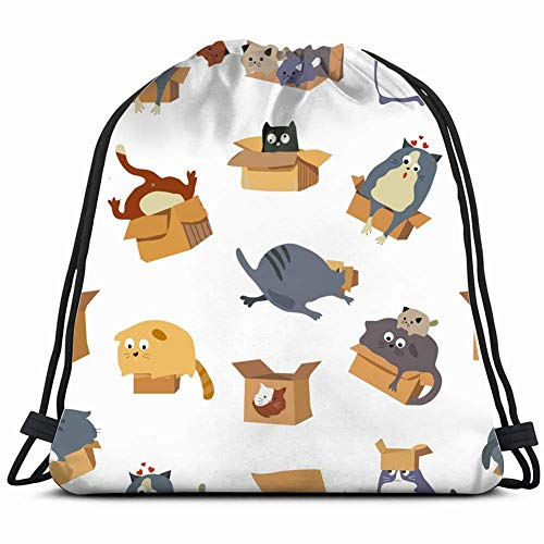 JIMSTRES Cats vs Boxes Animals Wildlife Animal Drawstring Backpack Gym Sack Lightweight Bag Water Resistant Gym Backpack for Women&Men for Sports,Travelling,Hiking,Camping,Shopping Yoga