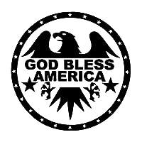 カーステッカー 15.5cm * 15.5cmファッション神の祝福アメリカイーグルビニール風防シールドデカール車のステッカーブラック/シルバー カーステッカー (Color Name : Black)