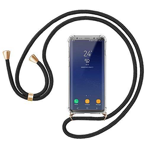 Migimi Handykette für Samsung Galaxy S8, Handyhülle mit Umhängeband Band, Halsband Silikon Schutzhülle Hülle mit Kordel Necklace Schnur Hülle zum Umhängen Handy-Kette für Galaxy S8, Schwarz