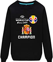 2019 Spain FIBA Basketball World Cup Winning The Memorial-Autumn And Winter-Men And Women-Leisure-Round Neck Sweater-Sweatshirt,Black,XL