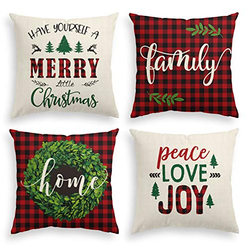 AVOIN Merry Christmas Saying Throw Pillow Cover Boxwood Wreath, 18 x 18 Inch Winter Holiday Buffalo Plaid Cushion Case for Sofa Couch Set of 4