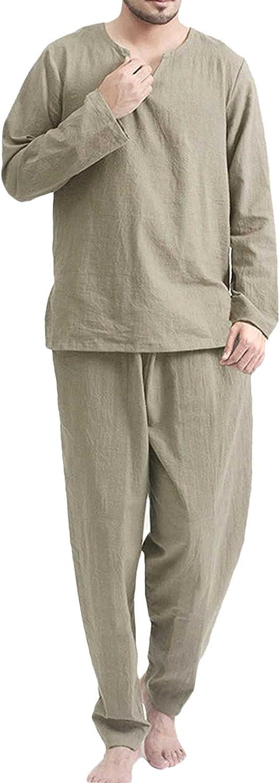 GTHTTT Men's Pajama Set Notched Collar Long Sleeve Pajama Shirt Sleepwear Trousers Loungewear Lounge Wear PJ Set 2 Piece