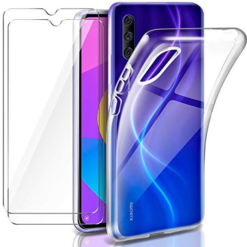 Leathlux Cover Xiaomi Mi A3 / Mi CC9E Custodia Trasparente + 2 × Pellicola Vetro Temperato, Morbido Silicone Custodie Protettivo TPU Gel Sottile Cover per Xiaomi Mi A3 / CC9E