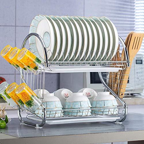 TTXP Rostfreier Stahl Besteck Abtropfer 2 Etagen mit Abtropfschale,53x26x38cm / 21x10x15inWeiß Drying Rack Kitchen für Küchenarbeitsplatte Multifunktionale Lagerung