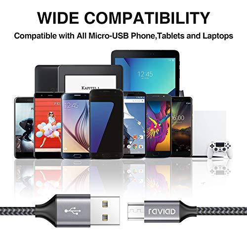 RAVIAD Micro USB Kabel [4Pack 0.3m 1m 2m 3m] 3A Micro USB Ladekabel Android Schnellladekabel für Samsung Galaxy S7 Edge/S7/S6/J3/J7/Note 5, Huawei, Xiaomi, Wiko, Sony, Nexus, Nokia