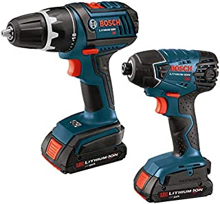 Bosch CLPK232-180-RT 18V Lithium-Ion 1/2 in. Drill Driver and Impact Driver Combo Kit (Renewed)