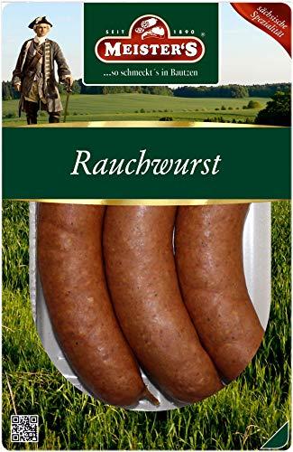 Echte Rauchwurst aus Bautzen, auf Buchenholz geräuchert, eine herzhafte Wurst Delikatesse aus der Oberlausitz für Grill und Pfanne, 300g