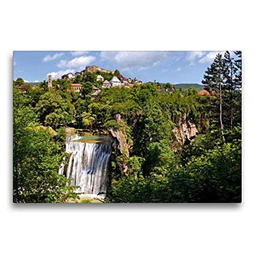 CALVENDO Premium Textil-Leinwand 75 x 50 cm Quer-Format Der Pliva-Wasserfall in Jajce, Zentralbosnien, Leinwanddruck von Bernd Zillich
