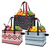 TOPDesign Reusable Grocery Bags (Set of 3), Shopping totes , Foldable Utility Storage Boxes with Handles, Thick Support Bottom & Stands Upright (Bohemia)