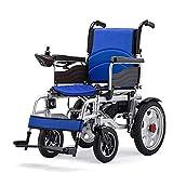 QQLK La Silla de Ruedas Eléctrica Ligera Plegable - Deshabilitado ScooterDoble Motor, Duración de la Batería 12-15 km, Peso del Rodamiento 150 kg,Azul