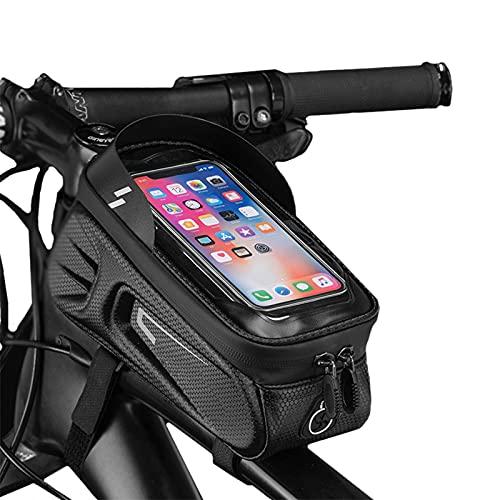 OEMC Bike Frame Bag, Bolsa Bicicleta Impermeable, Bolsa Movil Bici con Ventana para Pantalla Táctil, Bolsa para Cuadro Bicicleta Montaña para Smartphones De hasta 6,4'