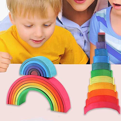 Bettying Juego de 12 Bloques de Madera con diseño de arcoíris, para niños y niñas