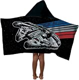 Jay Franco Disney Millennium Falcon Kids Hooded Bath/Pool/Beach Towel, Star Wars Black