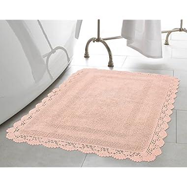 Laura Ashley Crochet Cotton 17x24 in. Bath Rug, Blush