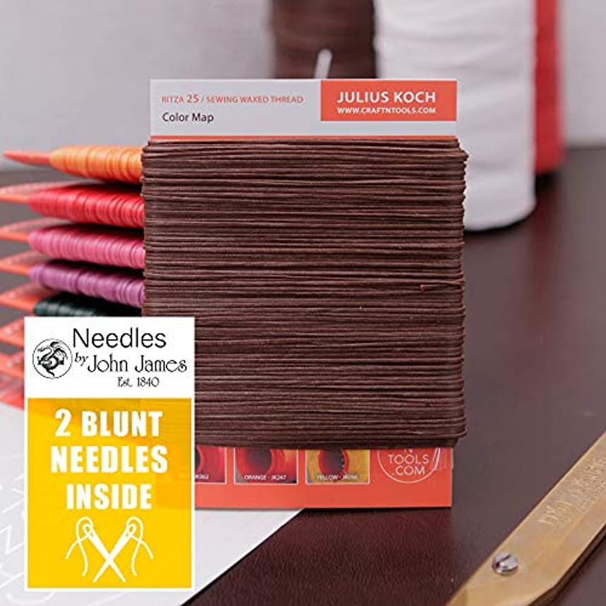 MID Brown 1.2mm Ritza 25 Tiger Thread for Leather Craft | Waxed Tiger Thread | Ritza 25 Thread | Waxed Polyester | Saddlers Thread